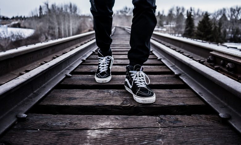 shoes on tracks