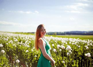 lady in field
