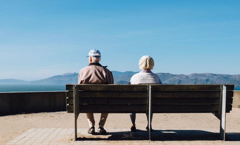 old couple on bench