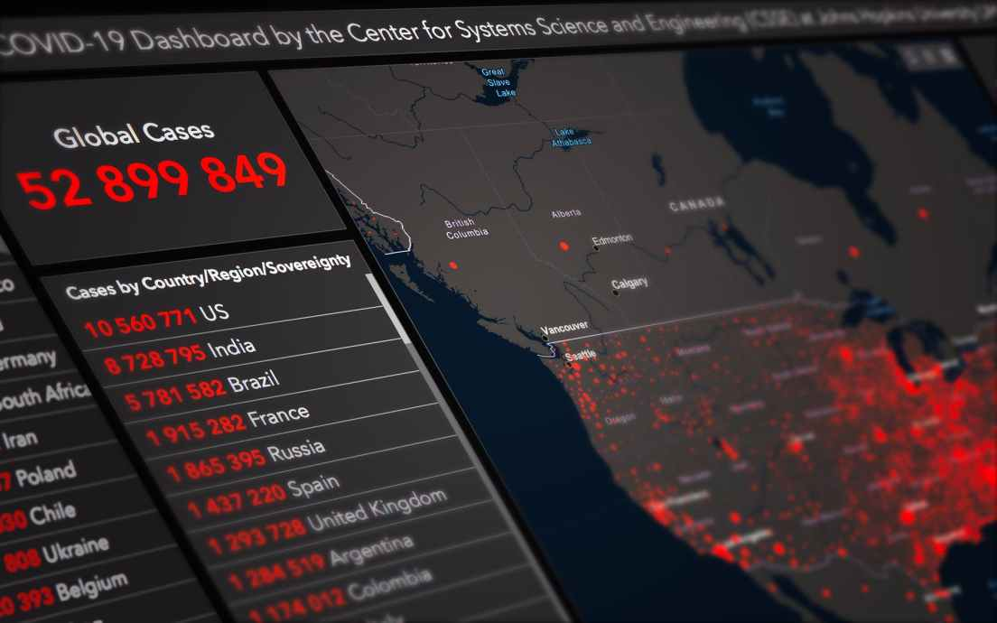 coronavirus dashboard with map and statistic