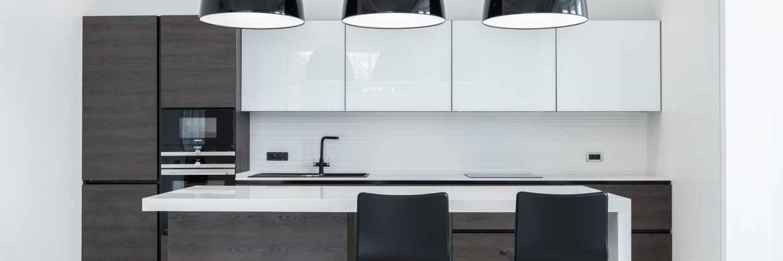 modern interior of spacious minimalist kitchen