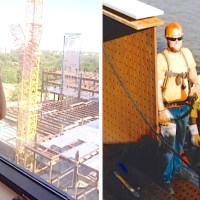 Sick Child Looks Out Hospital Window And Realizes The Construction Workers Have A Surprise