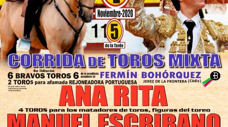 Corrida de toros mixta el 1 de noviembre en Albox (Almería)