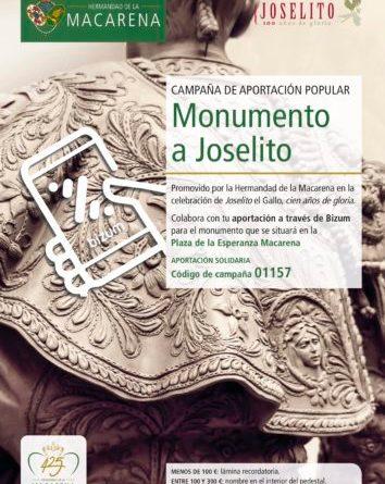 La Hermandad de la Macarena abre una campaña de aportación popular al monumento de Joselito