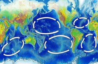 Les cinq Gyres du monde par futura-sciences.com