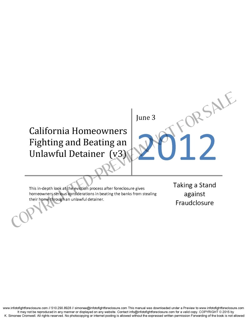 Preview California Homeowners Fighting and Beating Unlawful Detainer