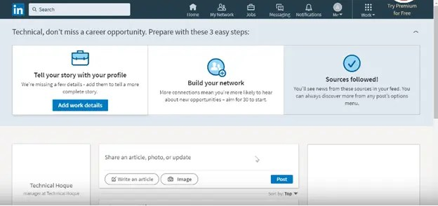 LinkedIn start working on your profile