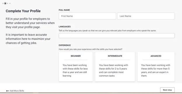 freelancer.com complete your profile