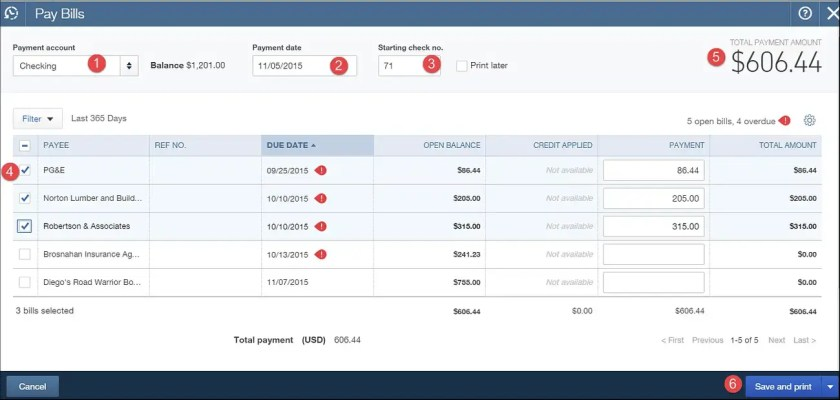 Select Bills To Pay Using Online Payment
