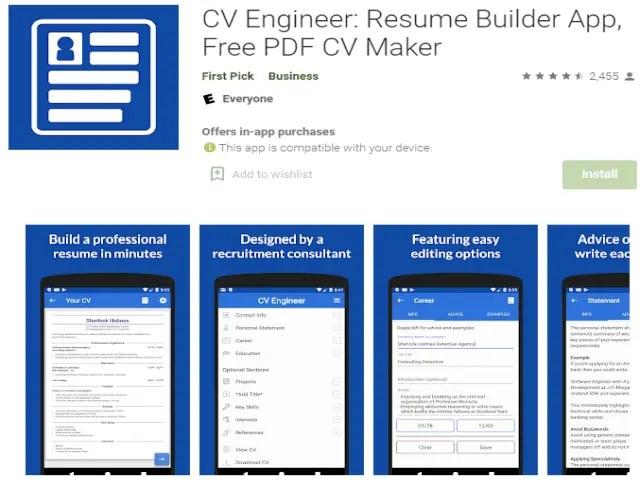 CV Engineer Resume Builder App Free PDF CV Maker Top 6 Best Job Search Apps 2021