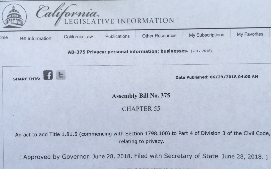 PRIVACY: Last-minute provision in California data-privacy bill may actually create a marketplace that values personal information, observers say; also nonprofits not covered?
