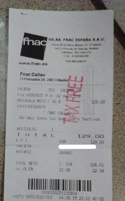 Sello tax free en la factura