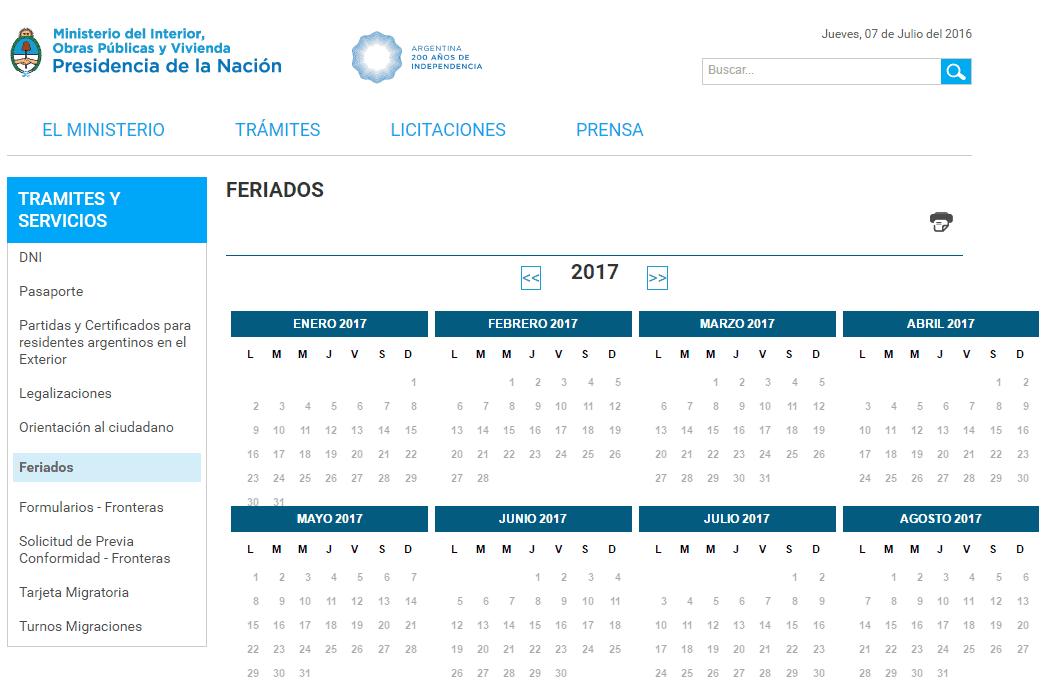 Calendario 2017 Argentina.Y Los Feriados Para El 2017 Donde Estan Info Viajera
