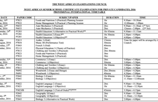 GCE WAEC 2017 Timetable