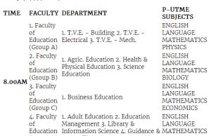 ESUT Post Utme Exams Timetable