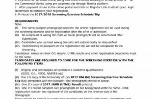 Uniuyo Screening Date 2017