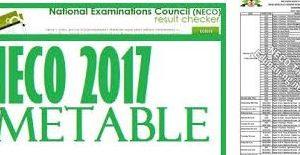 neco timetable 2018
