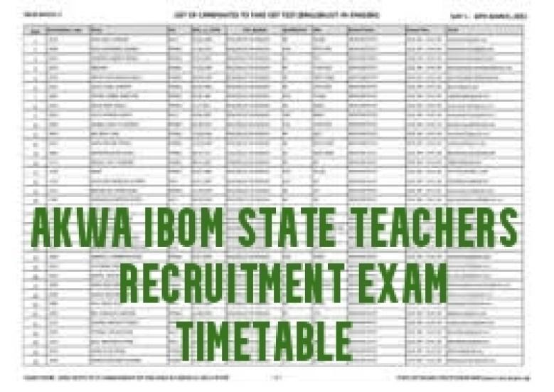 Akwa Ibom State Teachers Recruitment Exam Timetable