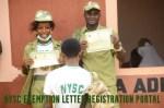 NYSC Exemption Letter Registration Portal 2021