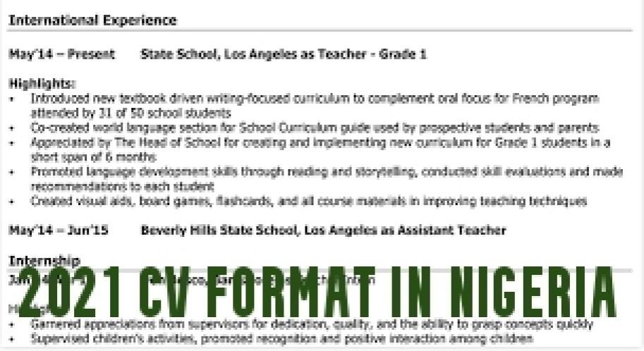 CV Format in Nigeria