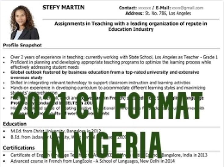 2021 CV Format in Nigeria