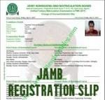 JAMB Registration Slip 2021 JAMB Registration