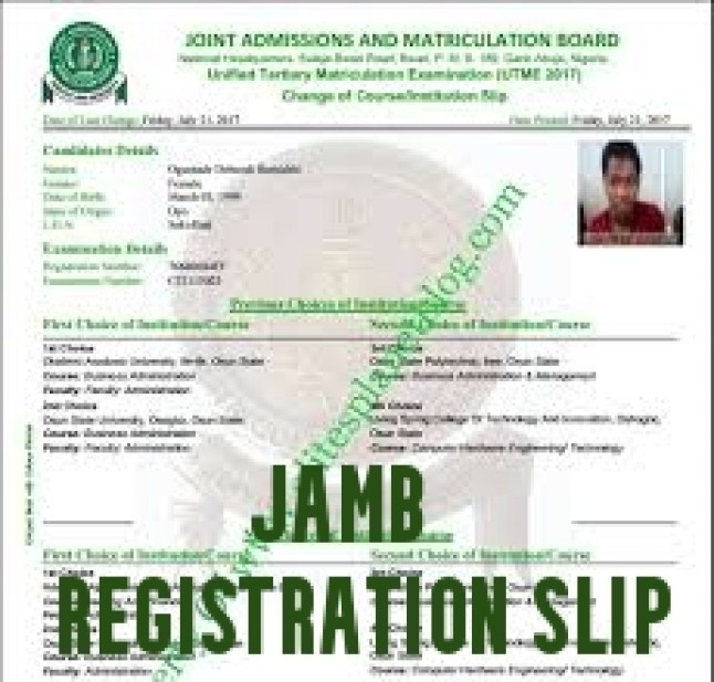JAMB Registration Slip