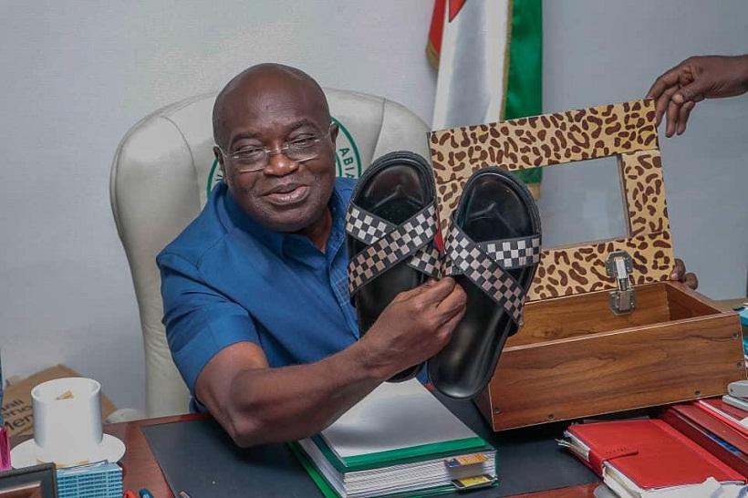 Governor Okezie Ikpeazu turns shoe maker displays his first hand work [Photos]