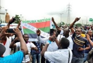 [WATCH] Yoruba Nation Agitators Appear At Ojota Protest Ground