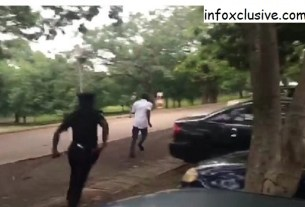 Watch Moment A Policeman Chased Nnamdi Kanu's Supporter Away From Abuja Court (Video)
