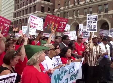 Detroit community protesting  water shut offs.
