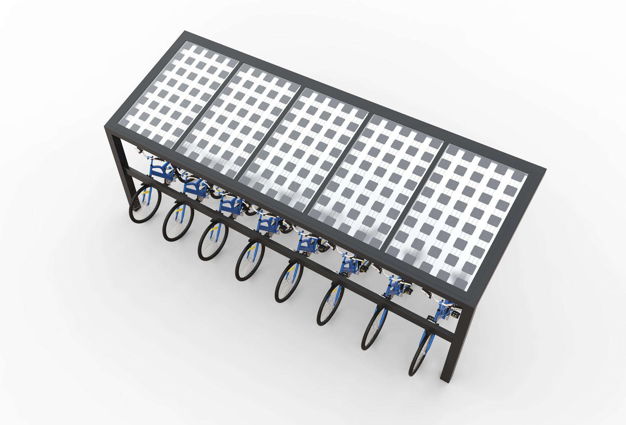 Solar fietenstalling met zonnepanelen enkel bovenaanzicht