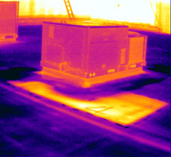 infrared camera image of roof equipment