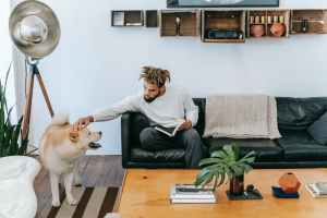 black man sitting on couch while petting dog