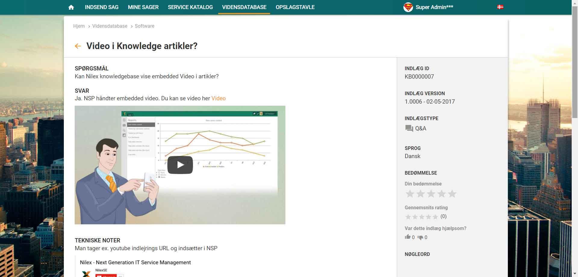 Vidensdatabase knowledge artikel screenshot