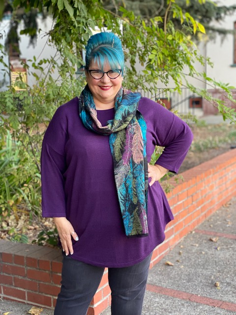 Blue Sky Tina Pullover-Royale and Teal