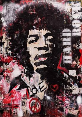 Jimmy Hendrix oder Love Hard Rock, Mixed Media auf Leinwand, 2016., 160x100 cm,, ( Projekt Nobody, zusammenarbeit mit Chris May )