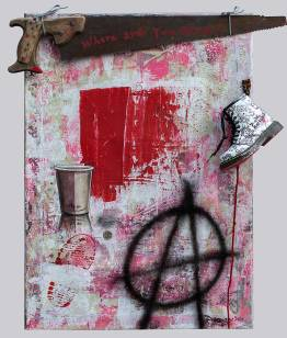 Coffee to go, Mixed Media & Objekte auf Leinwand, 2016., 70x50 cm, ( Projekt Nobody, zusammenarbeit mitChris May )