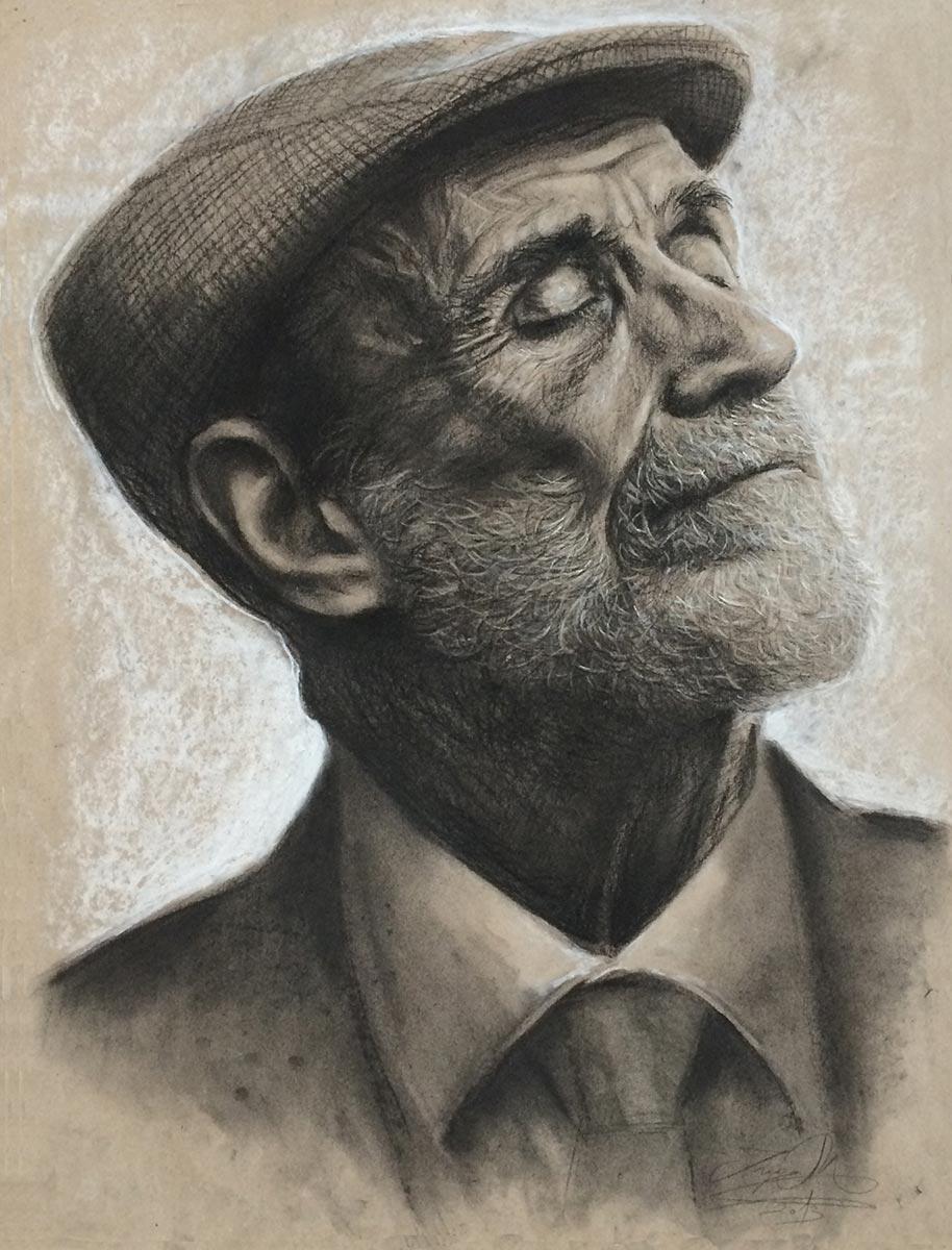 Alter Mann im Profil, Kohle & Pastell, 2013., 65x50cm