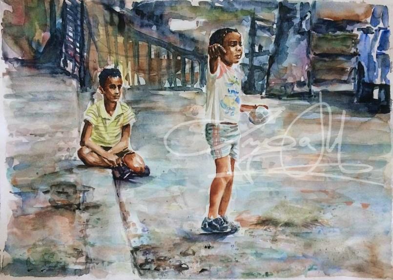 Schwarze Kinder graue Straße, Aquarell 30x40 cm 2015