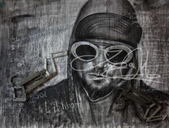 Kurt Corbain, Lithium, 200 x 100 cm, Mixed Media, 2017