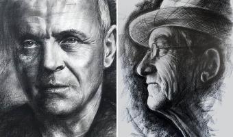 Kohle-Porträt-Vorführung bei Boesner Hannover