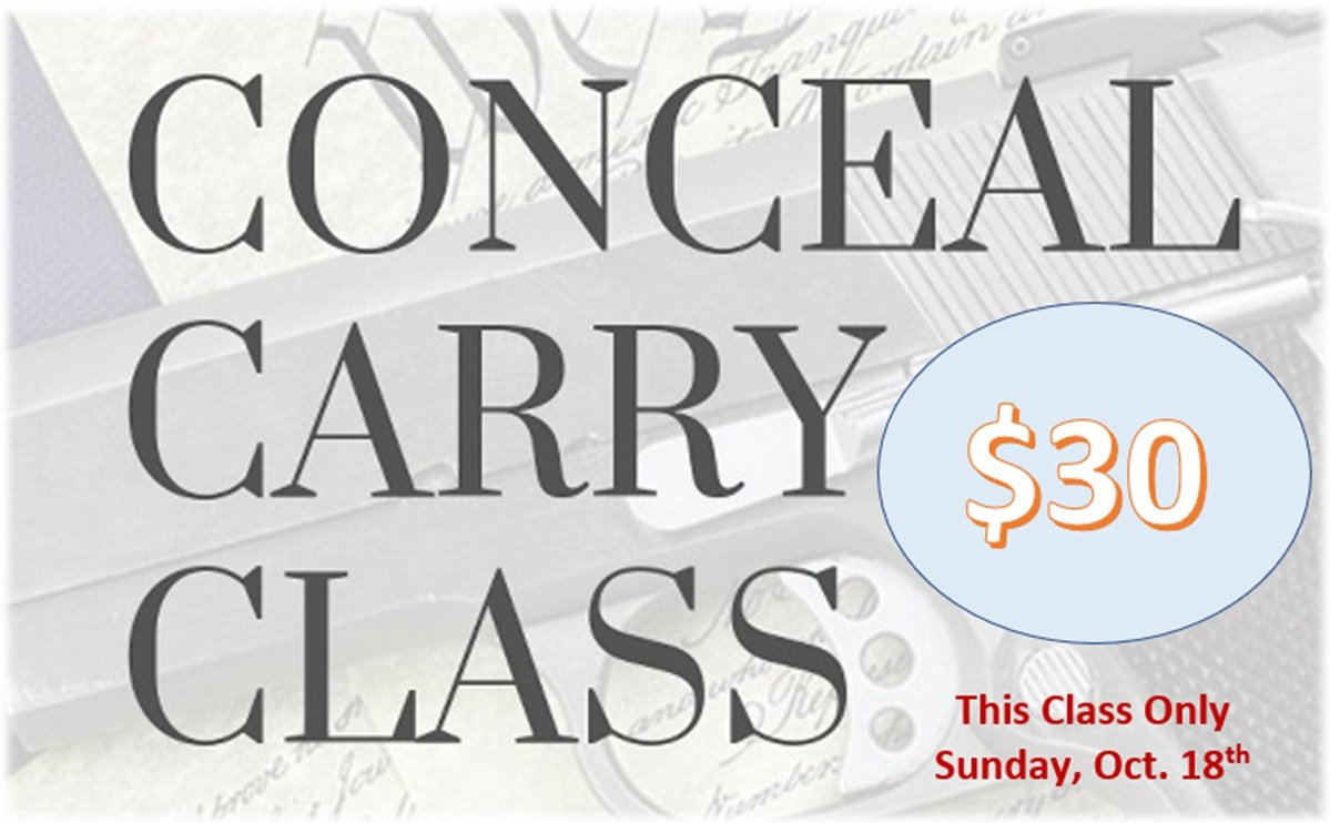 Concealed Carry Class : Sunday, Oct. 18th at GANDER Outdoors – Bartow
