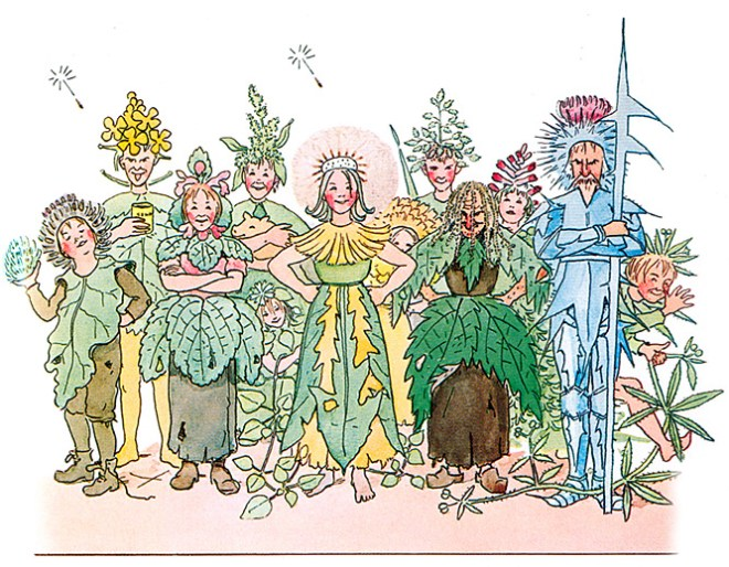 If you don't want to eat nettles, you always have the option of making them into a fetching dirndl-style apron, a la Elsa Beskow's The Flowers' Festival.