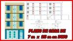Plano de vivienda Unifamiliar de 7 m x 25 m en DWG