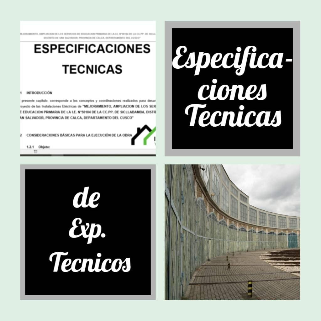Especificaciones tecnicas de los expedientes tecnicos