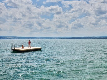 Bodensee swimming from the Meersburg Lido
