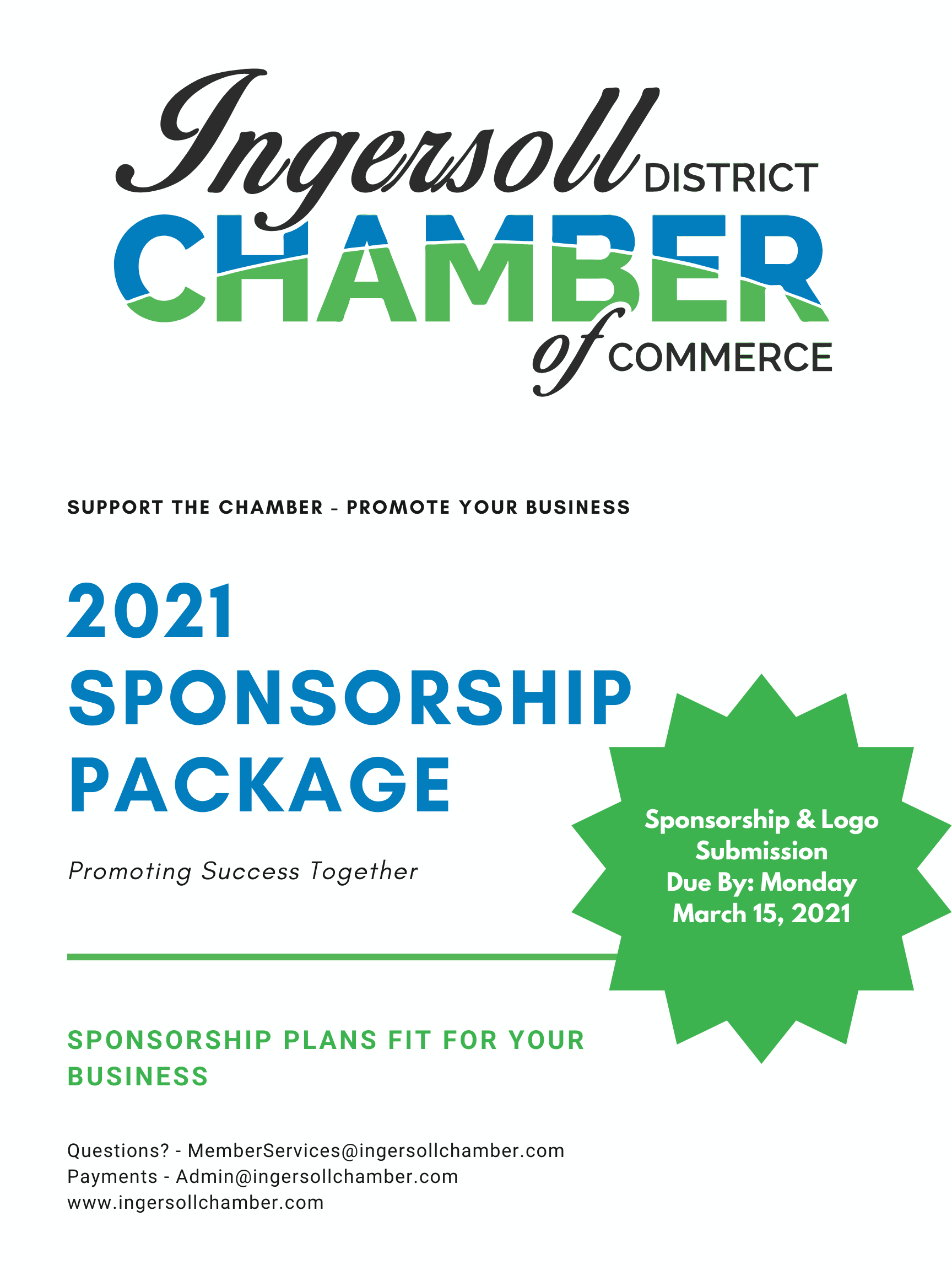 2021 Sponsorship Title Page - This page explains that sponsorships are due by March 15, 2021 and is primarily decorative