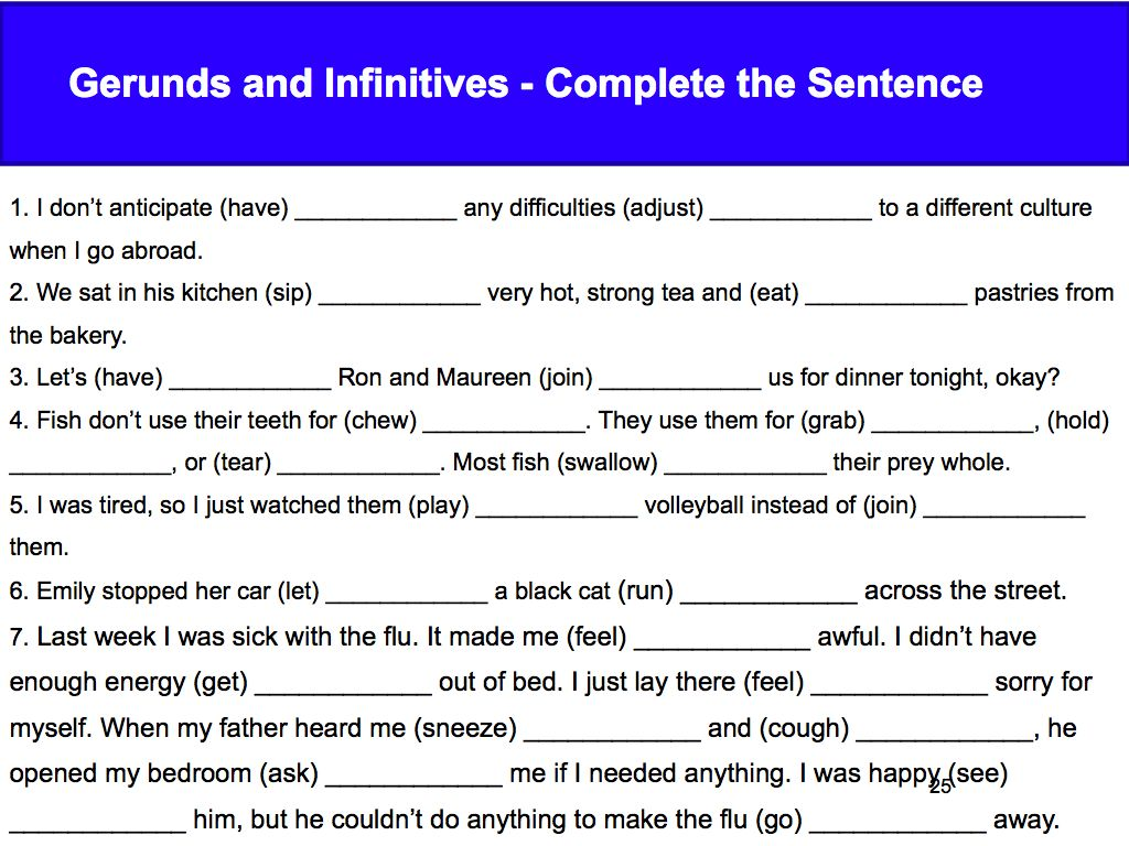 Elementary Test 8 Gerunds Infinitives Participles