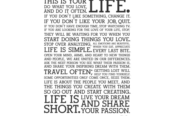 Holstee manifesto hayat yaşam özlü sözler özdeyiş vecize